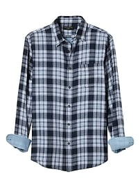 Standard-Fit Navy Plaid Double Weave Shirt