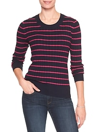 Stripe Cable Scoop-Neck Sweater