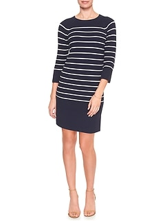 3/4-Sleeve Stripe Sweater Dress