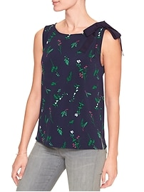 Print Tie-Neck Top