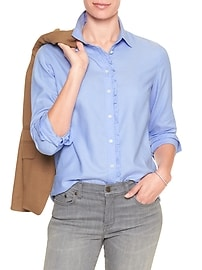 Oxford Ruffle Placket Classic Shirt