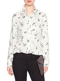 Print Ruffle Placket Classic Shirt