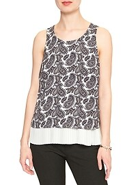 Print Double Layer Pleated Tank