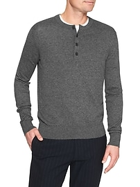 Jersey Knit Henley Sweater