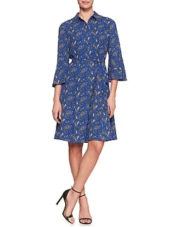 Print Ruffle-Sleeve Shirtdress