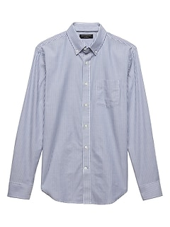 Slim-Fit Stretch Oxford Blue Stripe Shirt