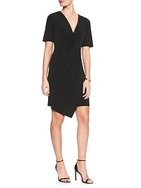 Side Knot Faux Wrap Dress