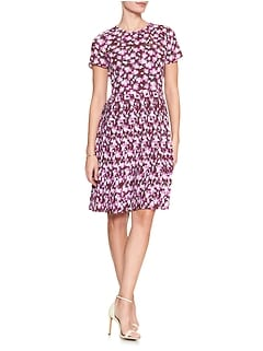 Print Pleated Skirt Fit and Flare Dress