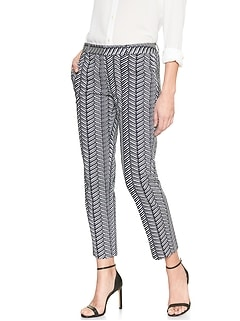 Avery Brushstroke Chevron Print Sateen Tailored Ankle Pant