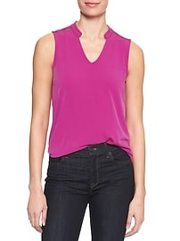 Matte Jersey Split Neck Top
