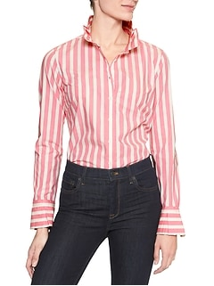 Tailored Long Sleeve Box Pleat Pink Stripe Shirt