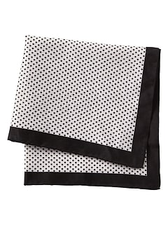Black White Dot Pocket Square