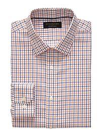 Slim-Fit Non-Iron Orange Plaid Shirt