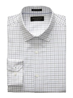 Slim-Fit Premium Pima Blue Grid Shirt