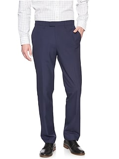 Commute Proof Standard-Fit Blue Check Dress Pant