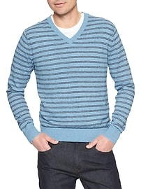 Heather Vee Stripe Sweater