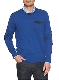 Long Sleeve Space Dye Heather Pocket Crew Sweater