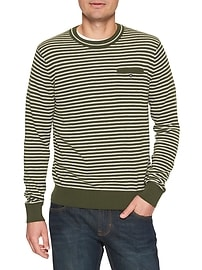 Long Sleeve Stripe Space Dye Heather Pocket Crew Sweater