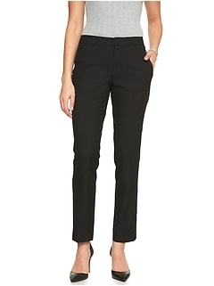 Petite Machine Washable Ryan Curvy Black Slim Straight Suit Pant