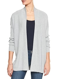 Mixed Stitch Open Front Cardigan