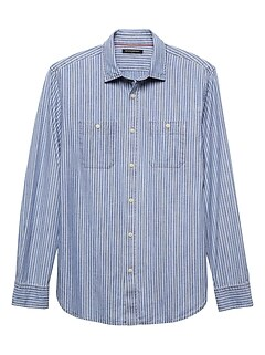 Slim-Fit Stripe Chambray Shirt