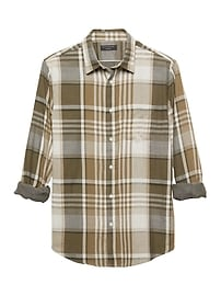 Standard-Fit Olive Plaid Double Weave Shirt