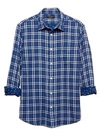 Standard-Fit Navy Double Weave Shirt