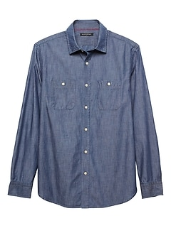 Slim-Fit Indigo Chambray Shirt