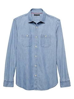 Slim-Fit Light Blue Chambray Shirt