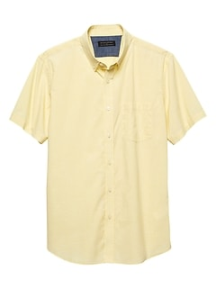 Standard-Fit Soft Wash Stretch Yellow Dot Shirt