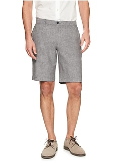 Aiden-Fit Linen Blend Grey Texture Short