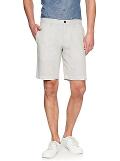 Aiden-Fit Linen Blend Grey Stripe Short