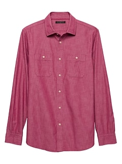 Slim-Fit Red Chambray Shirt