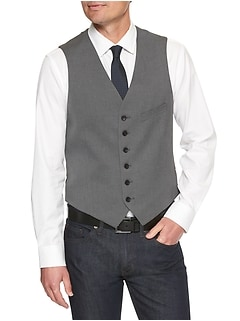 Standard-Fit Stretch Grey Herringbone Suit Vest