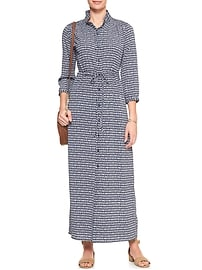 Print 3/4 Sleeve Smocked Shoulder Maxi Shirtdress