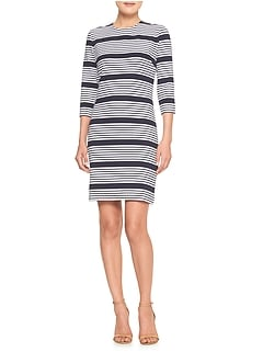 Stripe 3/4-Sleeve Sheath Dress