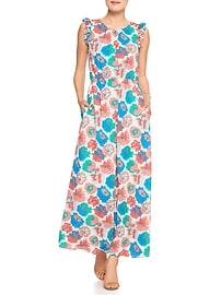 Ruffle Print Maxi Dress
