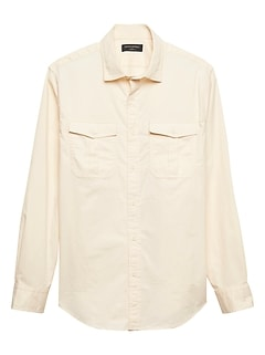 Standard-Fit Stretch Cream Double-Pocket Field Shirt