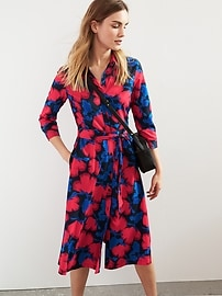 Print 3/4-Sleeve Midi Shirtdress