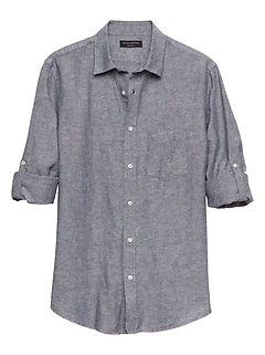 Slim-Fit Blue Linen Blend Shirt