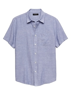 Standard-Fit Blue Linen Blend Shirt