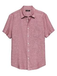 Standard-Fit Red Linen Blend Shirt