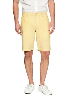 Aiden-Fit Linen Blend Yellow Daisy Short