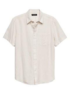 Standard-Fit White Linen Blend Shirt