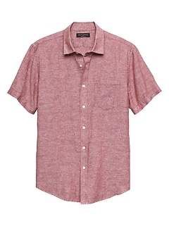 Slim-Fit Red Linen Blend Shirt