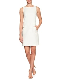 Textured Pocket Sheath Dress
