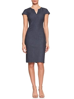 Denim Split Neck Sheath Dress