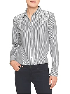 Embellished Yoke Classic Shirt