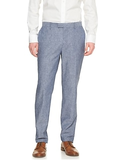 Standard-Fit Blue Linen Blend Trouser