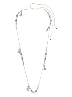 Beaded Tassel Station Necklace
